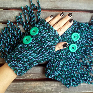 Hippie Gloves, Bohemian Gloves, Knit Mittens, Hand Warmer, Winter Gloves, Black-Green-Blue, Women's Gloves, Arm Warmers,Tassel,Sports Gloves