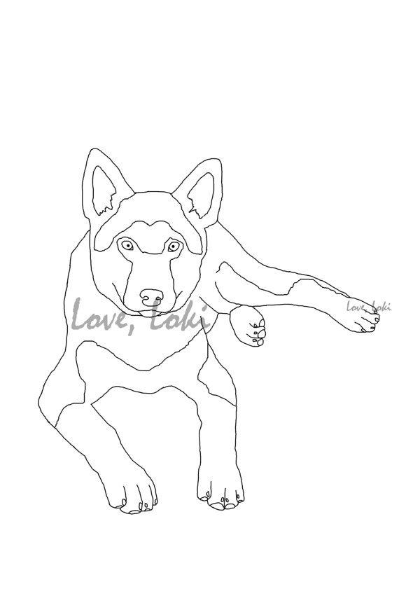 German shepherd dog coloring page from loveloki on etsy for German shepherd coloring pages printable