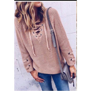 Fall Lace up sweater