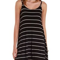 Black Combo Braided Strap Striped Shift Dress by Charlotte Russe