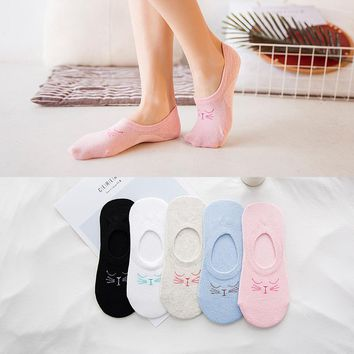 lady Cotton Solid Color Socks Cat Face Woman boat Socks Sleep Cathead Invisible Silica gel slipper 1pair=2pcs ws119