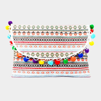 White Multi-color Semi Circle Pom Pom Wristlet Clutch Bag Purse