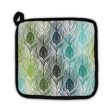 Potholder, Pattern With Peacock Feathers