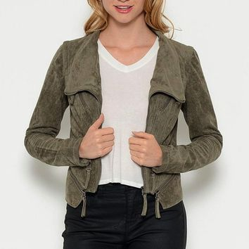 Stitched to Perfection Suede Moto Jacket - Olive