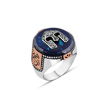 Mens 925 sterling silver ring with blue amber gemstone and helmet