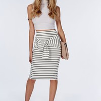 TIE WAIST STRIPE MIDI SKIRT WHITE