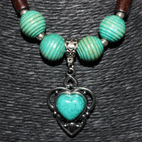 SALE: Silver/ Turquoise Stone Teardrop Shaped Pendant Beaded Necklace