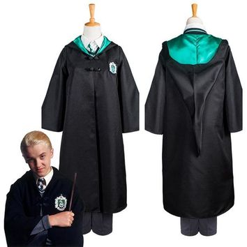 DCCKH6B Kid Gryffindor Cloak Slytherin School Uniform Draco Malfoy Cosplay Costume For Child Haloowenn Carnival Costumes Robe Only