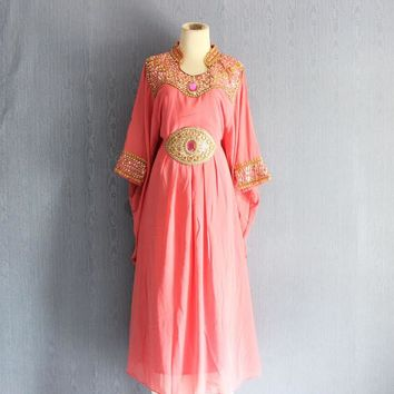Women's Peach Bridesmaid Wedding Gown Dress, Kaftan Plus Size Gold Sequin Dress, Caftan Dress with bead stone, Beaded Dresses With Sleeves