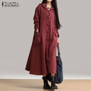 MDIGFS2 ZANZEA Women Cotton Dress 2018 Hot Sale Autumn Vintage Casual Loose Long Dresses Ladies V Neck Long Sleeve Hooded Solid Vestidos