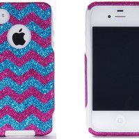 Otterbox iPhone 4 / 4S Case - iPhone 4 Otterbox - Custom Small Chevron Pattern Case Glitter Raspberry/Peacock for iPhone 4S
