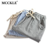 MCCKLE Summer 2017 New Woman Cotton and Linen Striped Herem Pants Fashion Women Loose Striped Full Pants Female Casual Pants