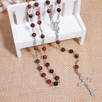 Gem Stone Prayer Rosary Beads Lariat Necklaces