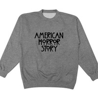 american horror story logo sweater Gray Sweatshirt Crewneck Men or Women for Unisex Size with variant colour