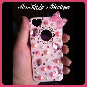 Hello Kitty Iphone 5 Case Cute Light Pink with pearls bows and bling