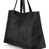 Snake-Effect Suede Shopper Bag - New In
