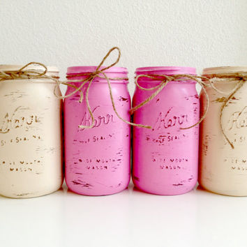 Set of 4 Shabby Chic Painted Mason Jar Vases - Pink and Cream Quart Kerr Mason Jars with Lids