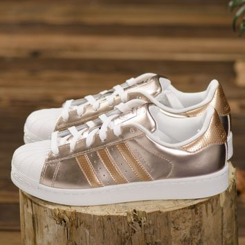 Adidas Superstar Metallic Rose Gold Leather White Womens Girls Trainers BA7664 Basketball Sneaker