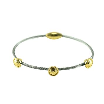 Greer Mini Gold Circle Charm Silver Wire Bracelet