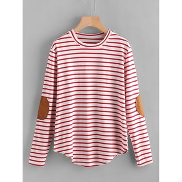 Elbow Patch Striped T-shirt Red