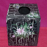 Hand Painted Distressed Wood Tissue Box Decorative Wooden Box Vintage Shabby Chic Box Black Floral