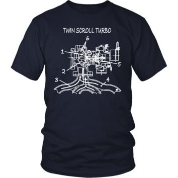 T&D Illustration Series- Twin Scroll Turbo Mens (unisex) t-shirt front and rear print