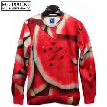 Direct Selling Funny 2016 Spring New Men/Women's 3D Fruit Watermelon Print t shirt tshirt Novelty Casual  long sleeves t-shirt