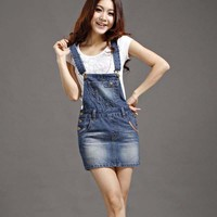 Ladies Summer Denim Sundress Sexy Mini Pencil Denim Skirt Suspenders Women Jeans Overalls Girl Skirt S-2XL