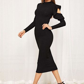 One Side Ruffle Open Shoulder Rib-knit Dress
