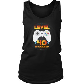 Women's 40th Birthday Gift - Level 40 Unlocked Funny Gamer Tank Top