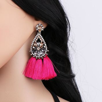 Janika Pink Tassel Crystal Boho Earrings