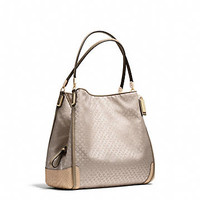 MADISON SMALL PHOEBE SHOULDER BAG IN OP ART PEARLESCENT FABRIC