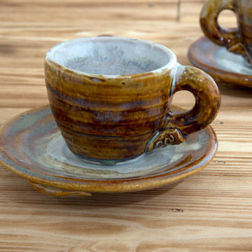 Ceramic Espresso Cup Made In Ireland Espresso Cup And Saucer Expresso Cup Ceramics And Pottery Small Coffee Cup Espresso Mug Brown Cup