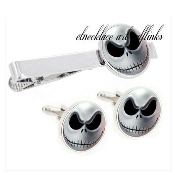 Skull cufflinks and tie track  set  , personalized silver cufflinks,gifts for dad from daughter,groomsmen cufflinks,