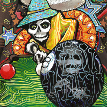 Mexican Folk Art 8 Ball Poster Pool Player Day of the Dead Art Print Skeleton Trippy Billiards Bola Ocho