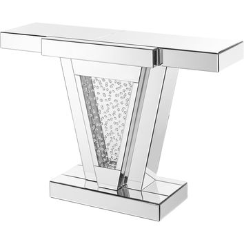 """Modern 47"""" Rectangle Crystal Console Table, Clear Mirror Finish"""