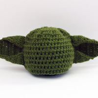 Yoda Baby Hat, Knit Infant Photo Prop, Halloween Costume Yoda Hat, Baby Boy Hat, Star Wars Costume, Crochet Baby Hat, Fun Hat, Strange Hat