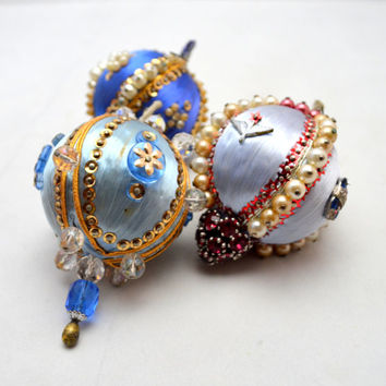 Vintage Beaded Christmas Ornaments, Blue Ornament Lot, Exquisitely Jeweled, Patriotic Ornaments, 1960s