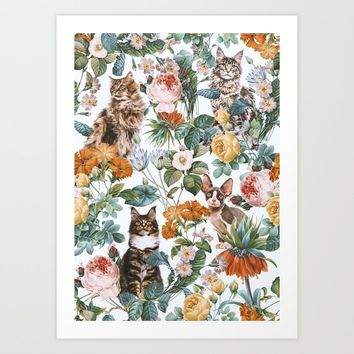 Cat and Floral Pattern III Art Print by burcukorkmazyurek