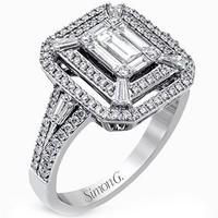 "Simon G. Halo ""Mosaic"" Emerald Cut Diamond Ring"