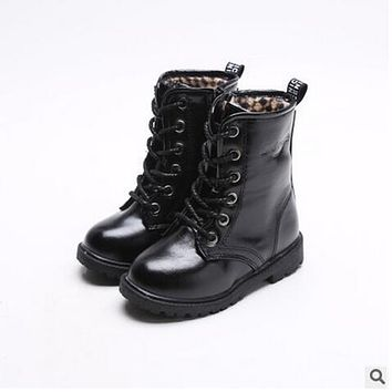 Child martin boots 2017 high warm leather kids winter snow boots girls fashion casual boots baby sneakers brand sport shoes