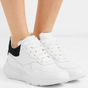Alexander McQueen - Suede-trimmed leather exaggerated-sole sneakers