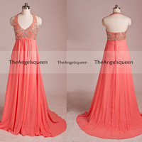 Luxury Sparkling Gold and Coral Halter Beading V-neck Backless A-line Long Evening dress,Bridesmaid dress,Cocktail dresses,Senior prom dress