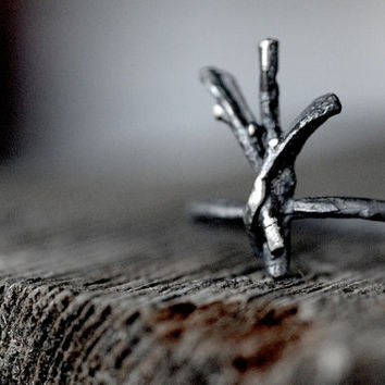 ALGIZ Rune Ring, sterling silver twigs - Sanctuary, Divine Protection