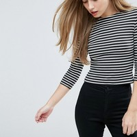 ASOS Crew Neck T-Shirt In Stripe With 3/4 Sleeve at asos.com