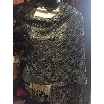 Vitage Styled Sheer black lace chochet  Shawl wrap