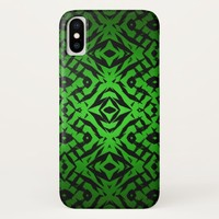 Green tribal shapes pattern Case-Mate iPhone case