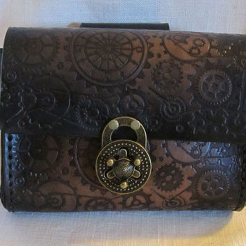 Leather Belt Pouch, Steampunk, Gears, Medium Bag, Hip Bag, LARP, Role Play