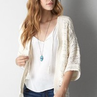 AEO Cascading Open Cardigan, Summer Burgundy | American Eagle Outfitters