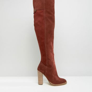 ASOS KEIRA Suede Over The Knee Sock Boots at asos.com